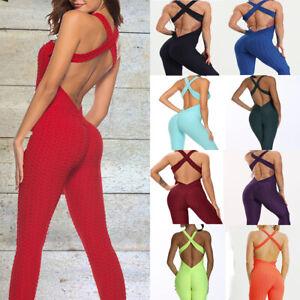 Womens Anti-Cellulite Yoga Jumpsuit Leggings Sports Fitness Pants Gym Trousers