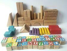 Box of Vintage Assorted Wood Building Blocks Playskool - Wood - Alphabet