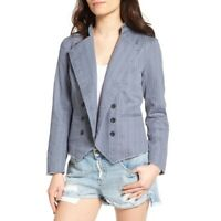 NWT Nordstroms Treasure & Bond Womens Military Jacket Frayed Hem Blue Size Large