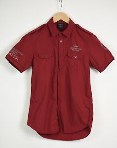 AERONAUTICA MILITARE Men's SMALL Red Embroidered Short Sleeve Shirt 35507-GS