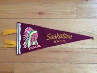 Vtg Saskatoon Saskatchewan Mini Pennant Felt Banner Canada Souvenir SK 1960's