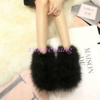 Womens Mid Calf Boots Ostrich Feather Fur Furry Winter Warm Shoes Snow Boots SI