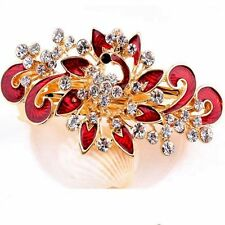 Fashion Women's Crystal Red Flower Rhinestone Hair Pins Hairpin Clip Barrette