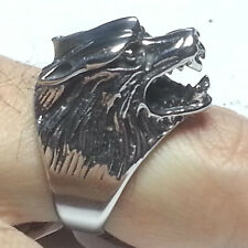Mens size 9 Stainless Steel  3-D Wolf Head Ring by BlackJack Jewelry