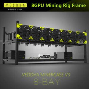 8 GPU Stackable Open Air Mining Rig Frame Case Computer Ethereum ETH Bracket DHL
