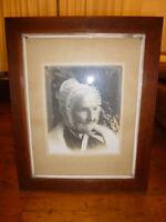 Antique Albumen Photograph - Portrait old woman in bonnet - Grandma Grandmother