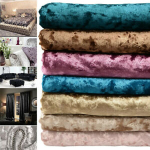 Crushed Velvet Fabric Material Craft Cushion Curtain Upholstery By the Metre UK
