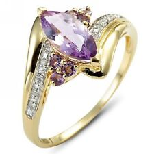 Jewelry Size 8 Amethyst 18K Gold Filled Womens Fashion Engagement Rings Gift