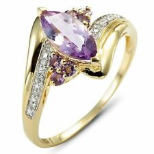 Fashion Size 10 Amethyst 18K Gold Filled Women's Wedding Engagement Ring Gift
