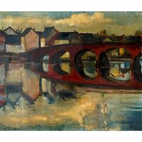 Expressionist Red Bridge With Swans - Fred Silberman (British, Oil in Canvas)