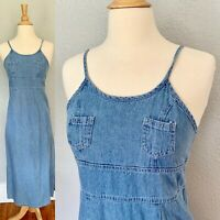 VTG 90s Denim Overall Sun Maxi Suspender JEAN Grunge Dress S
