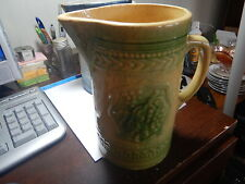 New Listing Old Green and Yellow pitcher with grapes, no damage old estate stoneware