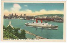 Montreal from St Helen's Island Ship Quebec Vintage Postcard