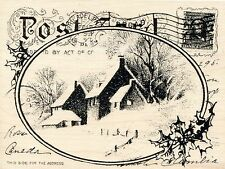 Snowy Postcard R143 Winter Farmhouse Wood Mounted Stampendous RUBBER STAMP