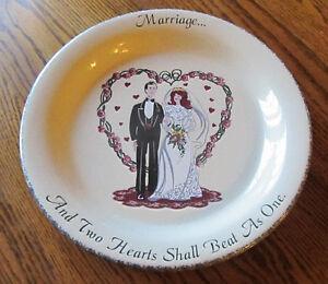 "Home & Garden Party Stoneware Marriage WEDDING PLATE 10"" Bowl Dish Bride Groom!"