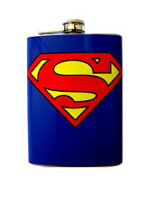 SUPERMAN LIQUOR FLASK STAINLESS STEEL 8OZ VINYL SCREW CAP HIP VODKA BRANDY FZ1