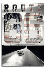 ROUTE 66 - AMERICAN FLAG POSTER - 24x36 USA FREEDOM ROAD CAR 22878
