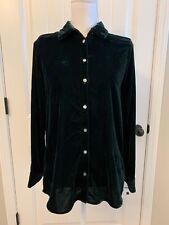 New Madewell Velvet Button Up Shirt Dark Green Sz L