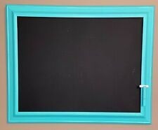 Chalkboard Teal  with clothespin chalk holder on front 14x18 Handmade.