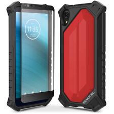 Motorola Moto E6 Hard Back Cover Phone Case with Glass Screen Protector - Evocel