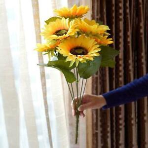 7 Heads Large Artificial Sunflower Fake Flowers Floral Decor Garden Bouquet G9A2