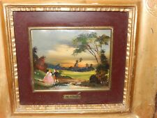 Framed Painting glass enamel on copper Victorian Couple Countryside Lake Signed