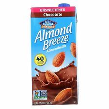 Blue Diamond Unsweetened Chocolate Almond Breeze Almond Milk 32 Ounce (12 PACK)