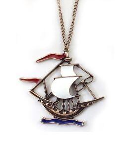 Xmas Vintage antique sailor ship boat necklace pendant