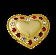 Vintage Paris France Rhinestone Kristel Saint Martin Gold Heart Brooch / Pendant