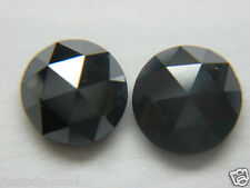 PAIR 3.0 TCW NATURAL LOOSE DIAMOND BLACK OPAQUE ROUND ROSE CUT DIAMOND - EARRING