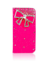 Luxury Bow Leather Bling Crystal Diamond Wallet Case For iPhone Samsung Mobile