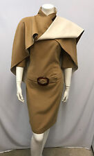 THIERRY MUGLER DRESS WITH CAPE Camel and Ivory Attached Belt NWT Cape 40 Small S