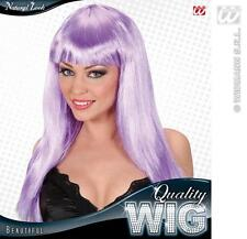 Ladies Long Lilac Wig With Fringe Beautiful Diva Lady Gaga Style Fancy Dress
