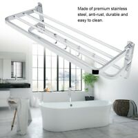 Bathroom Shelf Foldable Towel Rack Holder Wall Mounted Hanger  Stainless Steel