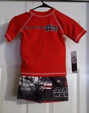 New Boys 2Pc Disney Star Wars UPF 50+ Swim Shirt & Swim Trunks Shorts Size XS