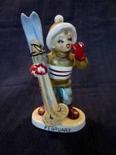 Vintage Lefton Figurine Birthday February Boy Japan 2300 Skis Month Winter
