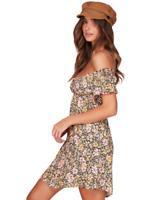 BNWT BILLABONG LADIES SERENA FLORAL OFF SHOULDER MINI DRESS SIZE 8 RRP $99.99