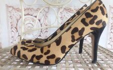 Max Studio Hyde Leopard Print Pumps Heels Size 6 Leather Beige Ivory Black