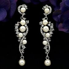 Rhodium Plated Clear Crystal Pearl Wedding Chandelier Drop Dangle Earrings 07952