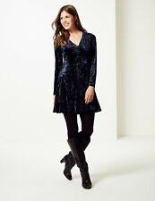 M&S Long Sleeve V Neck Navy Velvet Swing Dress Plus Size 24 BNWT