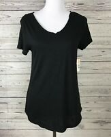 New Directions Women's Black V-Neck Short Sleeve Raw Edge Knit Top Size Small