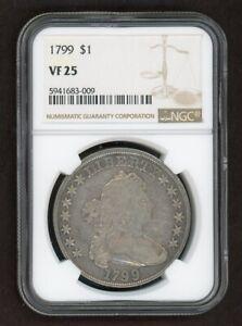 "1799 Draped Bust Silver Dollar $1 NGC VF25 "" RARE """