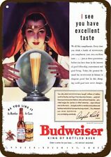 1937 BUDWEISER Beer Vintage Look Replica Metal Sign  FORTUNE TELLER CRYSTAL BALL