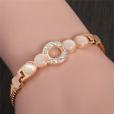 Fashion Women Lady Gold Plated Special Clear Crystal Stone Bangle Chain Bracelet