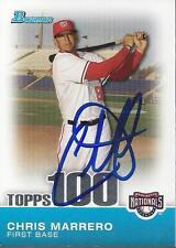Chris Marrero Washington Nationals 2010 Bowman Topps 100 Signed Card