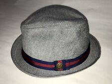 ba8fe376839b Goorin Bros Men's 100% Stiff Cotton Gray Red Blue Fedora Hat Sz Small EUC  GB15