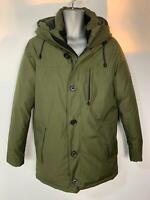 MENS MARKS&SPENCER OLIVE GREEN CASUAL WINTER PADDED RAIN COAT HOOD JACKET SIZE S