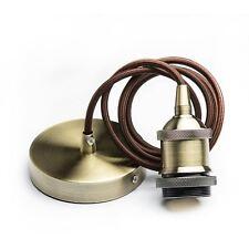 Vintage Brass Light Pendant Lamp Kit E27 Bulb Holder Ceiling Rose Cable 1.3M