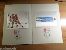 FRANCE 1992, DOCUMENT CERES FDC, SPORT LUGE, HOCKEY, JEUX OLYMPIQUES ALBERTVILLE