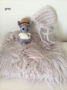 Long Fur Stuffer & Newborn Bonnet Set, Newborn Photography, Newborn photo prop